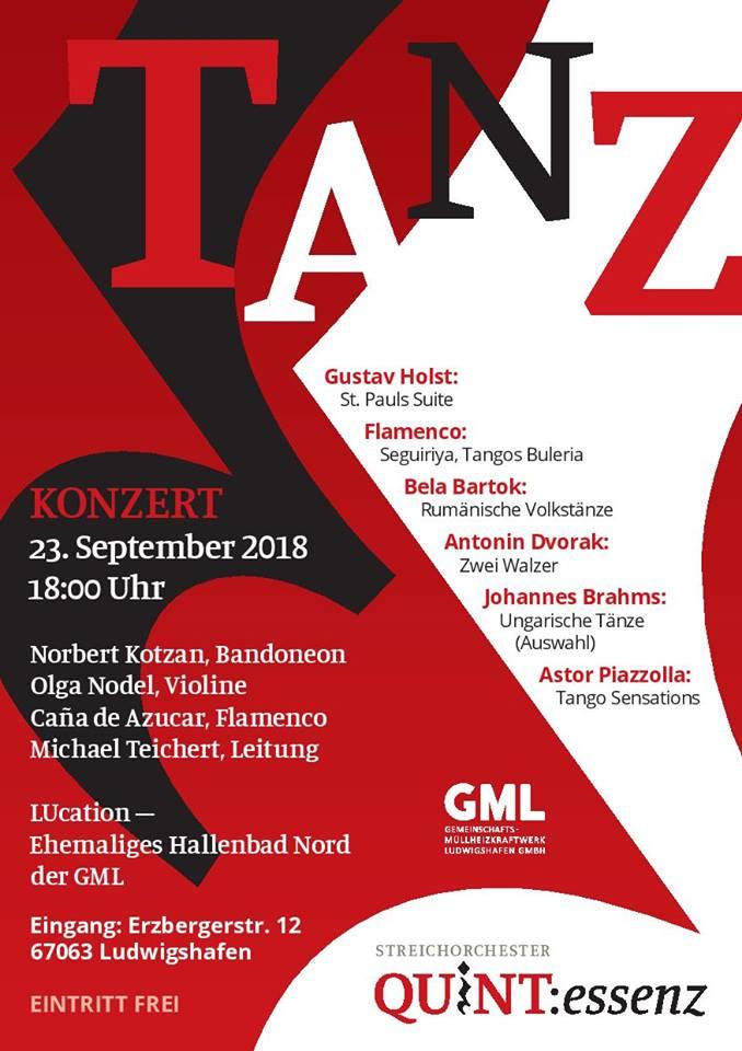 Flamenco-Auftritt zusammen dem Streichorchester QUINT:essenz in der LUcation – Ehemaliges Hallenbad Nord in Ludwigshafen am 23.09.2018